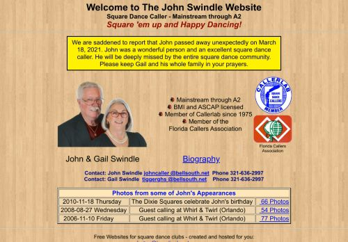 "Web site for ""John Swindle"""