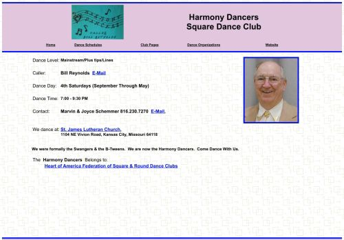 "Web site for ""Harmony Dancers Square Dance Club"""