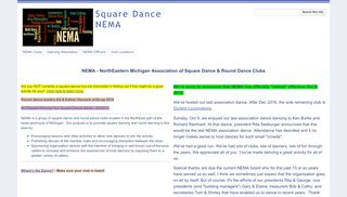 "Web site for ""NEMA - North East Michigan Association of Square and Round Dance Clubs"""