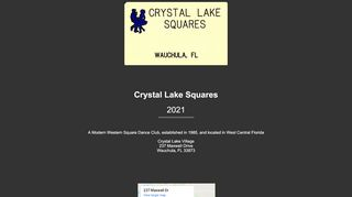 "Web site for ""Crystal Lake Squares"""