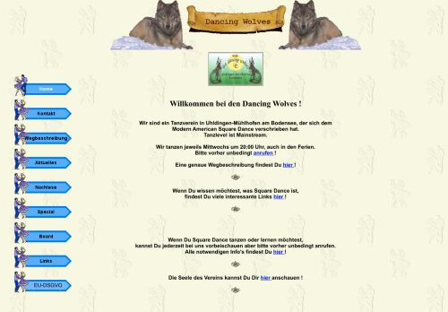 "Web site for ""Dancing Wolves Mühlhofen e.V."""