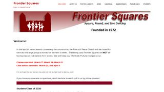 "Web site for ""Frontier Squares"""